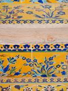 Closeup colorful floor tiles in historical building, ali qapu in isfahan, ira Stock Photos