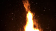 Huge burning flames of a bonfire - stock footage