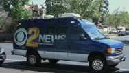 Stock Video Footage of TV NEWS VAN