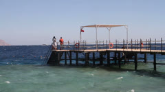 Diving Practice off Jetty in Red Sea Stock Footage
