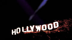 Hollywood Sign Spotlights 2 (2K) Stock Footage