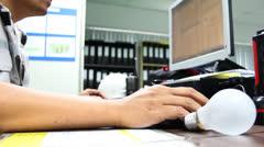 Engineering design on desk Stock Footage