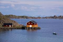 Fishing house on lofoten Stock Photos