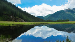 Alpine lake with clouds time lapse - stock footage