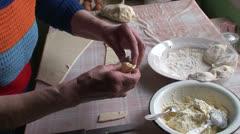 Lady making dumplings (19) Stock Footage