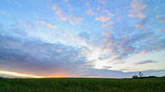 4K Sunset over Rural Field Stock Footage