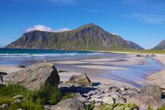 Beach on lofoten islands Stock Photos