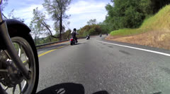 MOTORCYCLE GROUP POINT OF VIEW POV RIDING ON COUNTRY ROAD HD 1080 LONG :30 CLIP Stock Footage