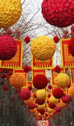 Chinese lunar new year decorations beijing china Stock Photos