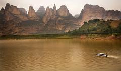 liujiaxia reservoir canyon binglin si buddhist temple lanzhou ga - stock photo