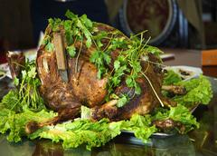 roasted whole lamb gansu province china - stock photo