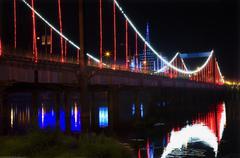 red lights jiangqun bridge, fushun, shenyang, liaoning province, - stock photo