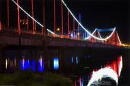 Stock Photo of red lights jiangqun bridge, fushun, shenyang, liaoning province,
