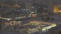 The State Mosque Qatar Doha city twilight landscape night iconic view aerial Stock Footage
