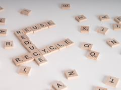 reduce, reuse recycle scrablle concept - stock photo