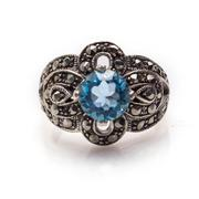 Blue topaz ring Stock Photos