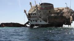 Shipwreck off Tiran Island, Eygpt Stock Footage