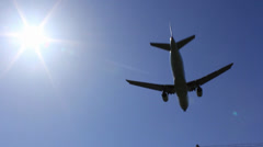 Airplane Day bluesky landing001 Stock Footage