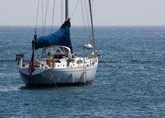 moored sailboat - stock photo