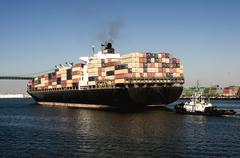 shipping industry port of los angeles - stock photo