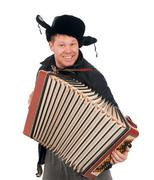 Russian man with accordion Stock Photos