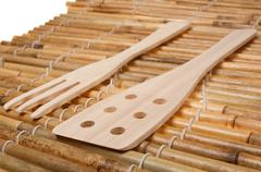 Set of three wooden kitchenware Stock Photos