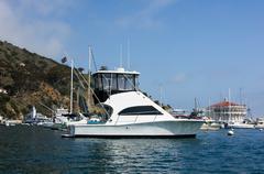 sportfisher yacht at santa catalina island - stock photo