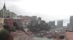 Valparaiso, Chile coast and church - stock footage