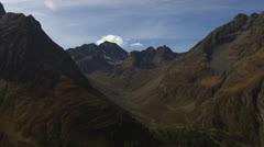 Aerial landscape shot, flight along mountains, Tyrol / Austria Stock Footage