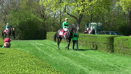 Stock Video Footage of Jockey and horse leaded to racecourse