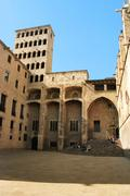 barcelona: medieval palau reial (royal palace in catalan) at placa del rei (k - stock photo