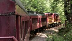 Historic antique Skunk Train redwood forest North California HD 6059 Stock Footage
