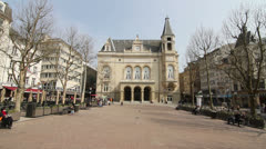 Municipal Palace and Place d'Armes, Luxembourg City - Springtime Stock Footage