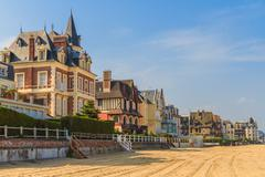 Trouville sur mer beach promenade, normandy, france Stock Photos