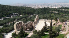 Odeon of Herodes Atticus stone theater at the Athenian Acropolis. Stock Footage