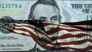 Stock Video Footage of American Flag Five Dollar Bill