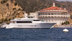 Mega yacht at avalon harbor Stock Photos
