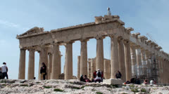 Tourists in the Parthenon of the Athenian Acropolis - stock footage