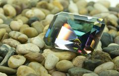 emerald cut faceted gemstone - stock photo