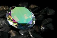 mystic topaz faceted gemstone - stock photo