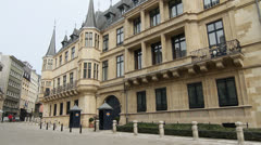 Palace of the Grand Dukes Facade, Luxembourg City Stock Footage