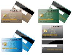 Joukko luottokortteja Piirros