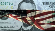 Stock Video Footage of American Flag Lincoln Five Dollar Bill