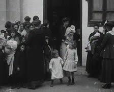 World War 1 - Women with children Stock Footage