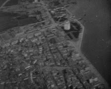 World War 1 - City and port aerial view Stock Footage
