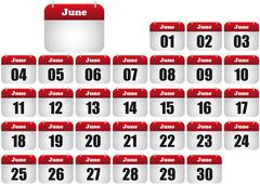 june calendar - stock illustration