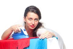 Ironing woman Stock Photos