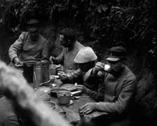 World War 1 - Soldiers daily life in trench - stock footage
