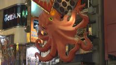 Sea spider, king crab on Dotonbori street, Osaka, Japan Stock Footage
