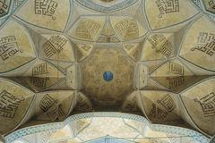 dome of an ancient mosque, oriental ornaments from isfahan, iran - stock illustration